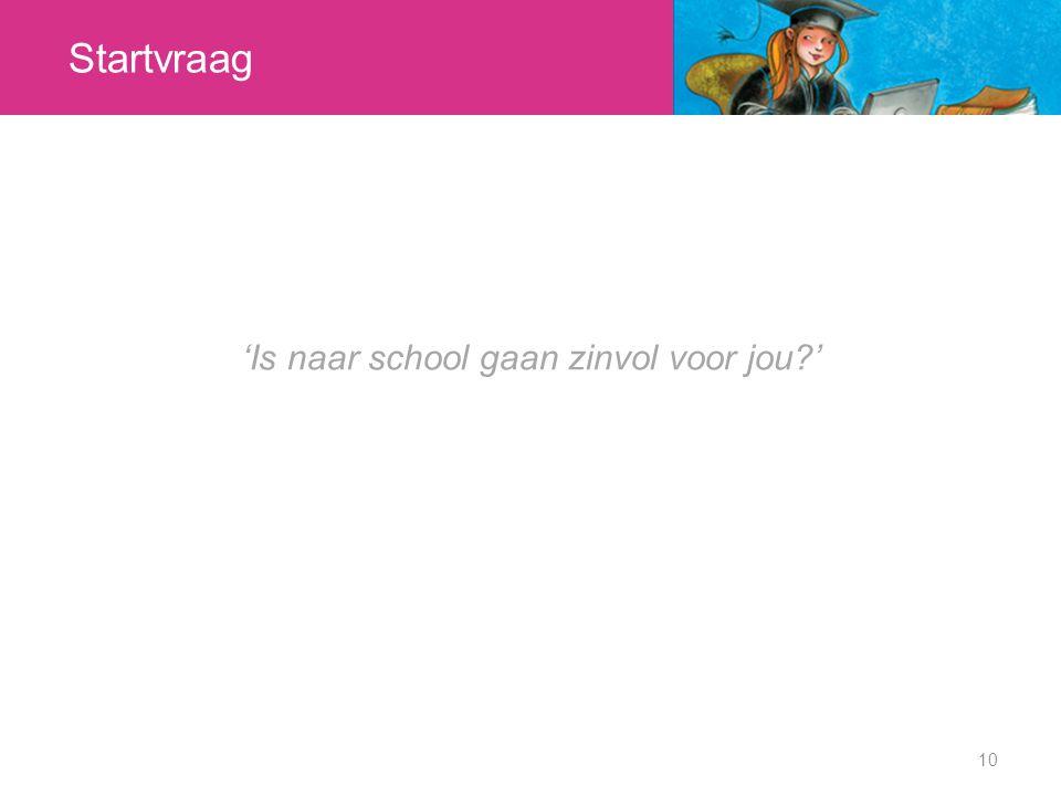 Startvraag 10 'Is naar school gaan zinvol voor jou?'