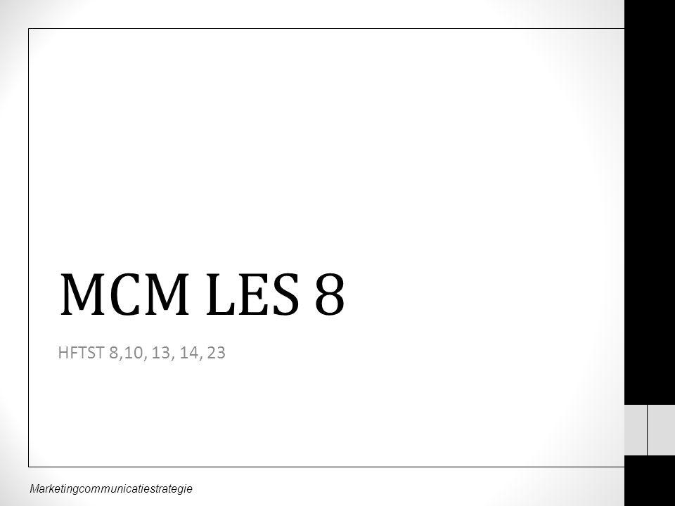 Marketingcommunicatiestrategie MCM LES 8 HFTST 8,10, 13, 14, 23