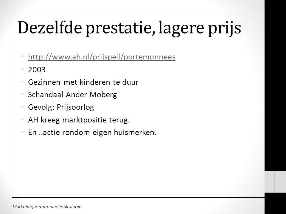 Marketingcommunicatiestrategie Dezelfde prestatie, lagere prijs http://www.ah.nl/prijspeil/portemonnees 2003 Gezinnen met kinderen te duur Schandaal Ander Moberg Gevolg: Prijsoorlog AH kreeg marktpositie terug.