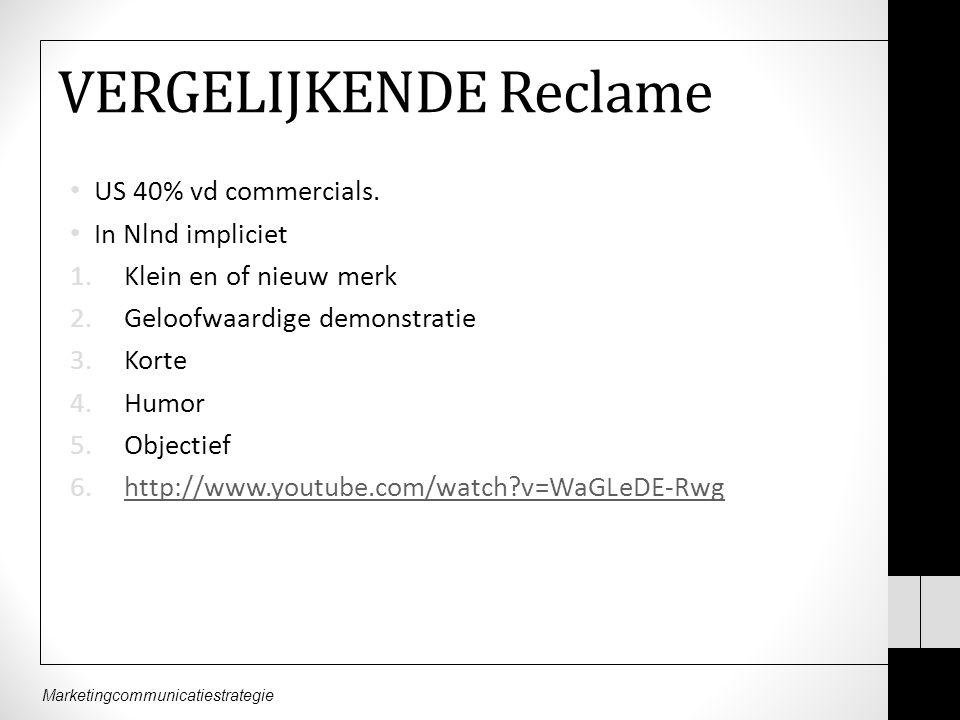 Marketingcommunicatiestrategie VERGELIJKENDE Reclame US 40% vd commercials.