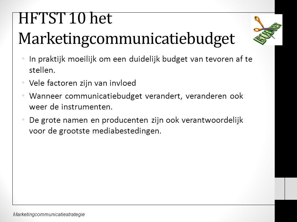 Marketingcommunicatiestrategie HFTST 10 het Marketingcommunicatiebudget In praktijk moeilijk om een duidelijk budget van tevoren af te stellen.