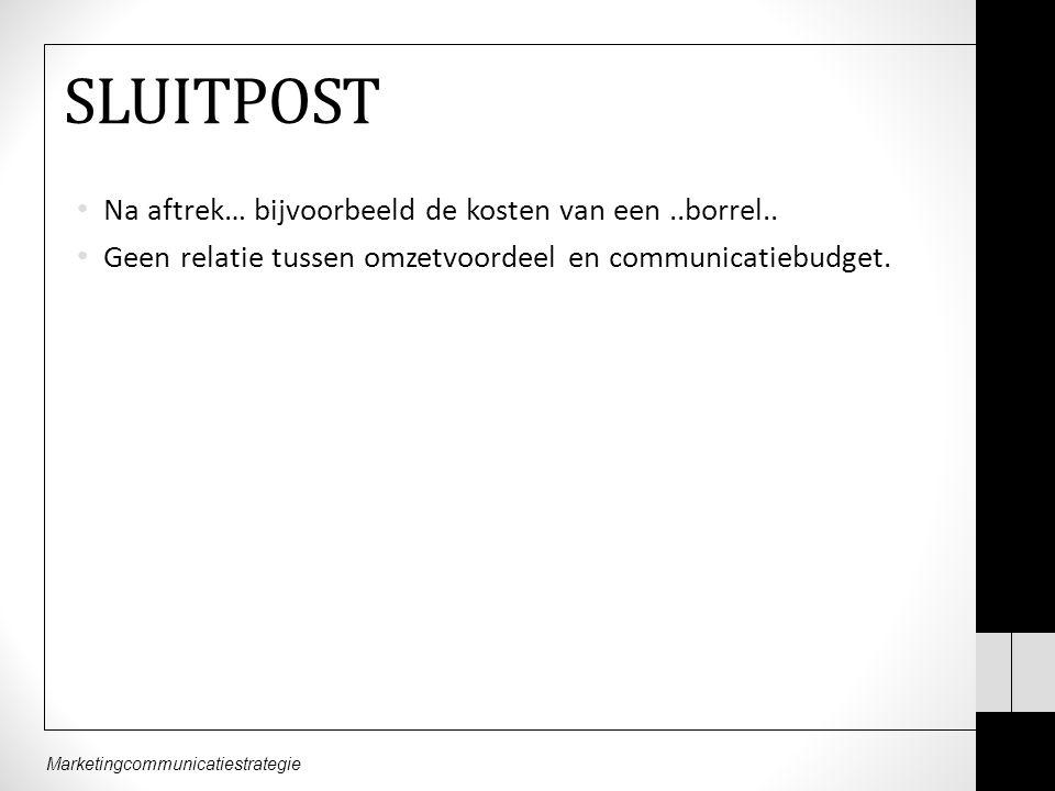 Marketingcommunicatiestrategie SLUITPOST Na aftrek… bijvoorbeeld de kosten van een..borrel..