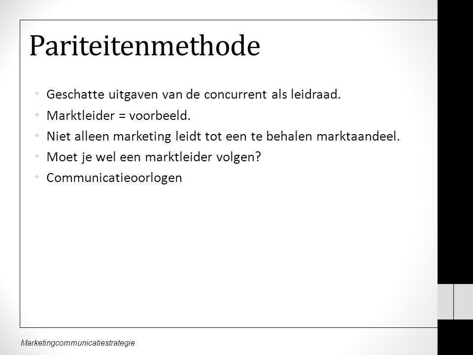 Marketingcommunicatiestrategie Pariteitenmethode Geschatte uitgaven van de concurrent als leidraad.