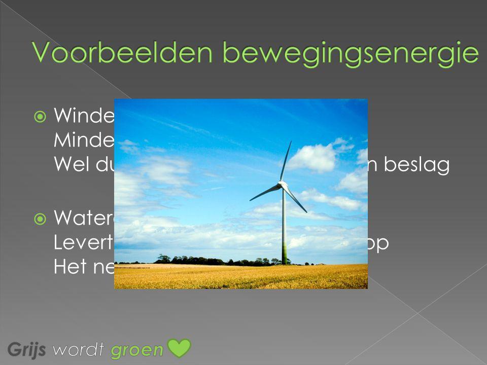 WWindenergie Minder milieu vervuiling Wel duur en neemt veel ruimte in beslag WWaterenergie Levert veel energie op, goedkoop Het neemt veel ruimte