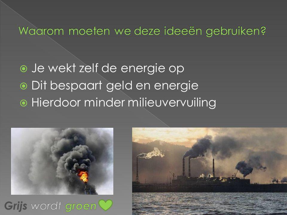 JJe wekt zelf de energie op DDit bespaart geld en energie HHierdoor minder milieuvervuiling