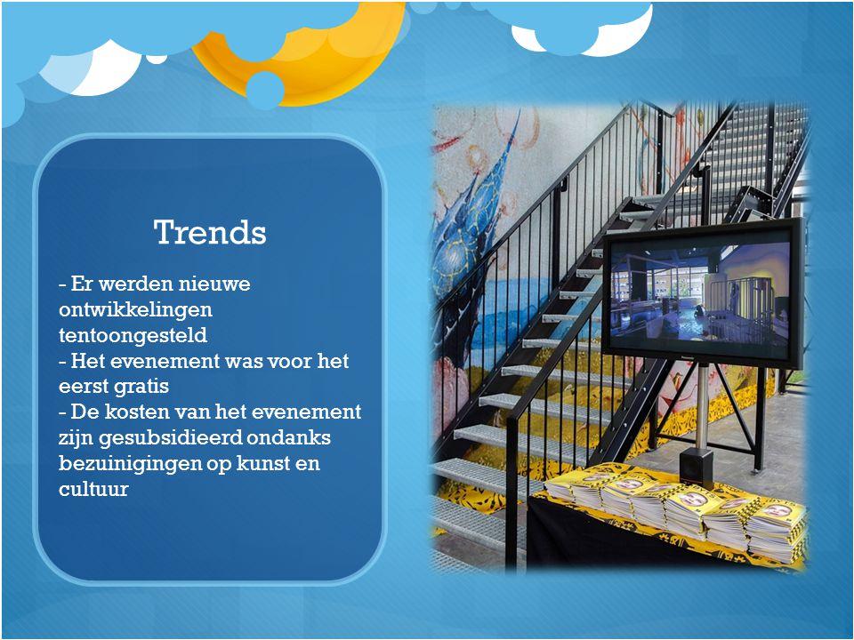 Trends - Er werden nieuwe ontwikkelingen tentoongesteld - Het evenement was voor het eerst gratis - De kosten van het evenement zijn gesubsidieerd ond