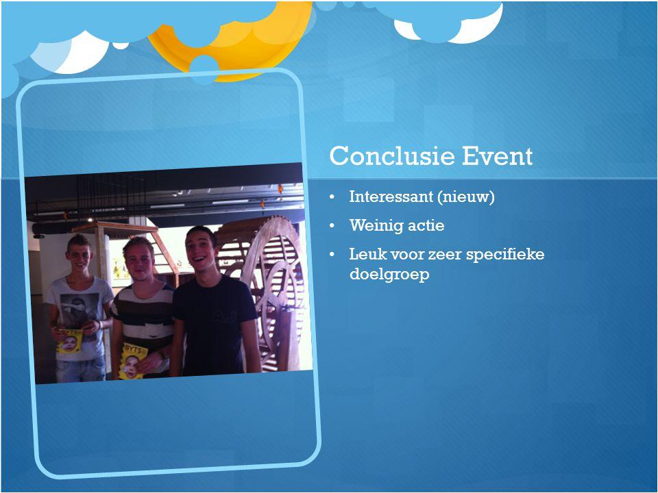 Conclusie Event Interessant (nieuw) Weinig actie Leuk voor zeer specifieke doelgroep