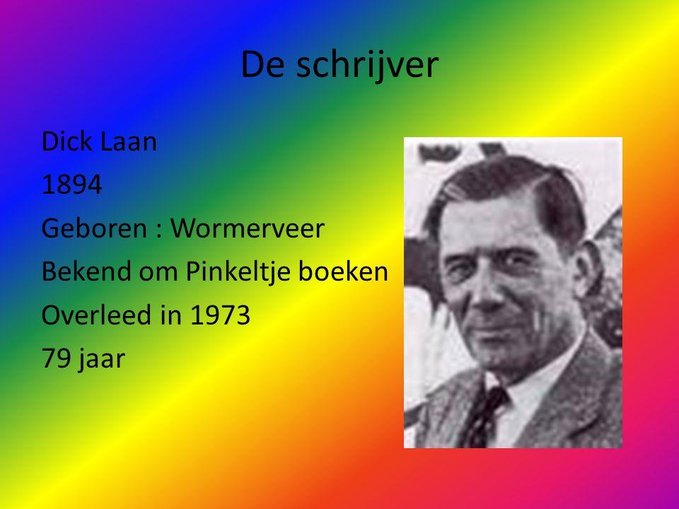 De schrijver Dick Laan 1894 Geboren : Wormerveer Bekend om Pinkeltje boeken Overleed in 1973 79 jaar