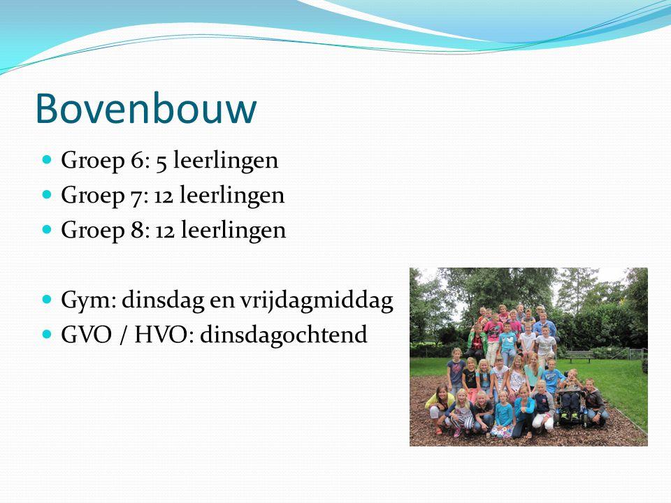 Bovenbouw Groep 6: 5 leerlingen Groep 7: 12 leerlingen Groep 8: 12 leerlingen Gym: dinsdag en vrijdagmiddag GVO / HVO: dinsdagochtend