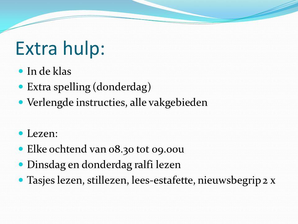 Extra hulp: In de klas Extra spelling (donderdag) Verlengde instructies, alle vakgebieden Lezen: Elke ochtend van 08.30 tot 09.00u Dinsdag en donderda