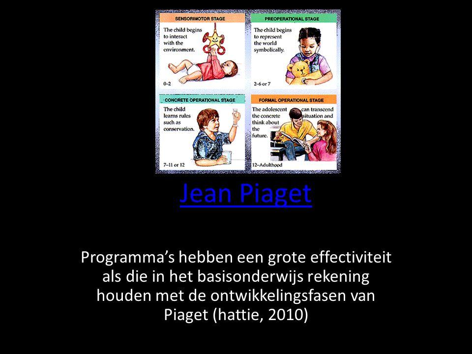 Jean Piaget Programma's hebben een grote effectiviteit als die in het basisonderwijs rekening houden met de ontwikkelingsfasen van Piaget (hattie, 201