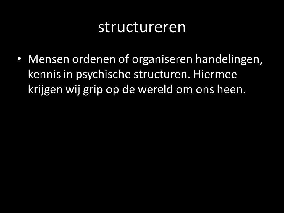 structureren Mensen ordenen of organiseren handelingen, kennis in psychische structuren. Hiermee krijgen wij grip op de wereld om ons heen.
