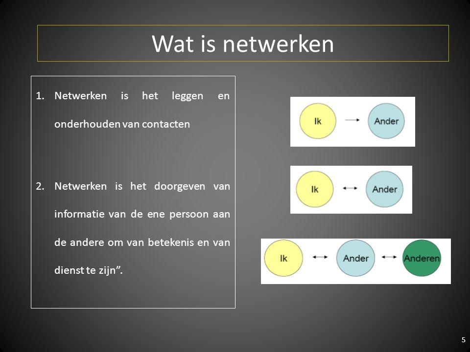 5 1.Netwerken is het leggen en onderhouden van contacten 2.Netwerken is het doorgeven van informatie van de ene persoon aan de andere om van betekenis en van dienst te zijn .