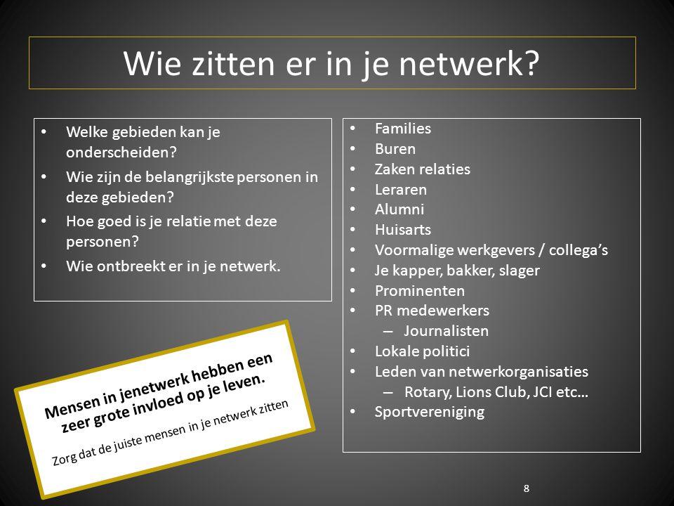 8 Wie zitten er in je netwerk? Welke gebieden kan je onderscheiden? Wie zijn de belangrijkste personen in deze gebieden? Hoe goed is je relatie met de