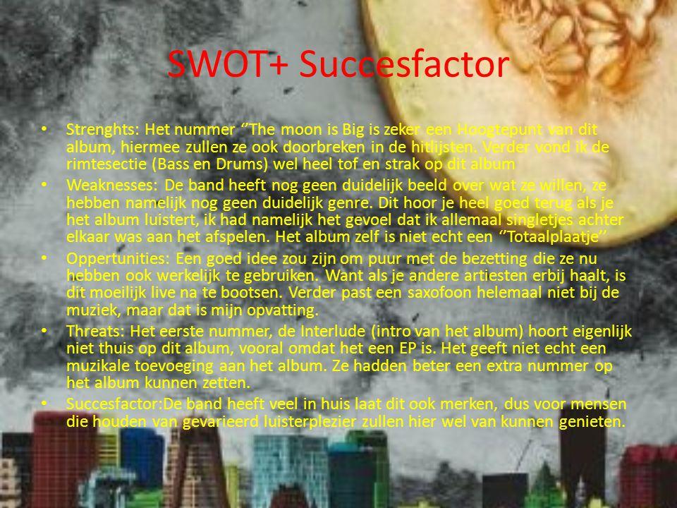 SWOT+ Succesfactor Strenghts: Het nummer ''The moon is Big is zeker een Hoogtepunt van dit album, hiermee zullen ze ook doorbreken in de hitlijsten.