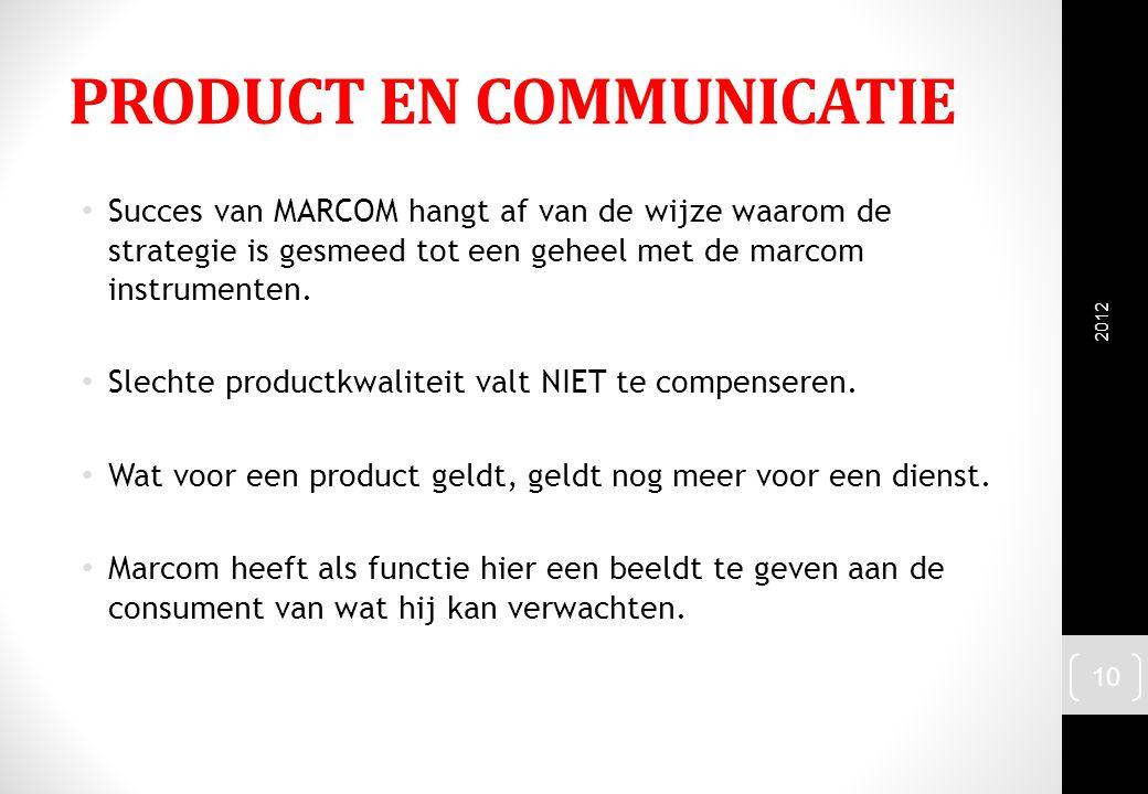 PRODUCT EN COMMUNICATIE Succes van MARCOM hangt af van de wijze waarom de strategie is gesmeed tot een geheel met de marcom instrumenten. Slechte prod