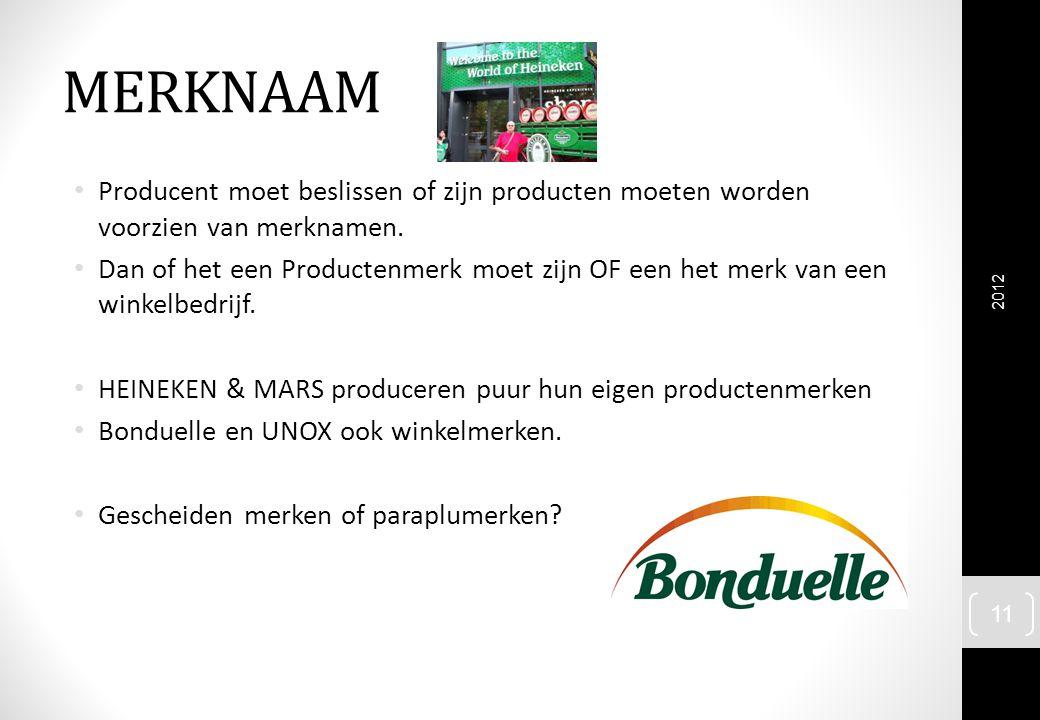 MERKNAAM Producent moet beslissen of zijn producten moeten worden voorzien van merknamen. Dan of het een Productenmerk moet zijn OF een het merk van e