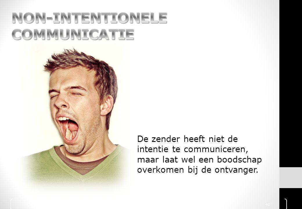 De zender heeft niet de intentie te communiceren, maar laat wel een boodschap overkomen bij de ontvanger. © 2010 Noordhoff Uitgevers bv, Groningen/Hou
