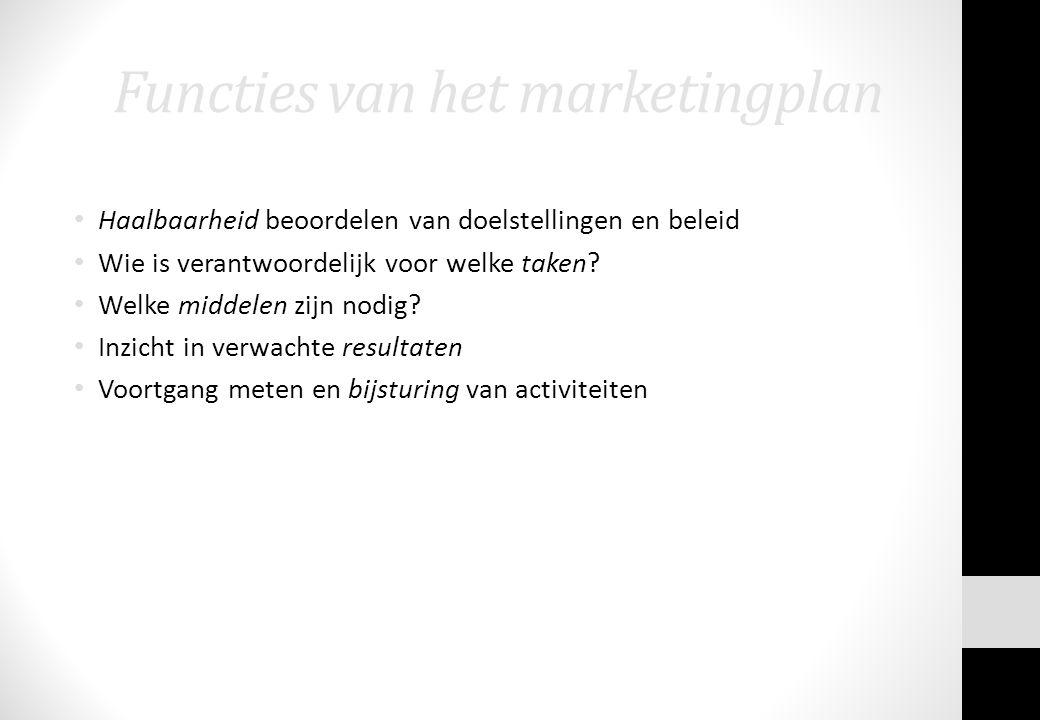 Functies van het marketingplan Haalbaarheid beoordelen van doelstellingen en beleid Wie is verantwoordelijk voor welke taken? Welke middelen zijn nodi