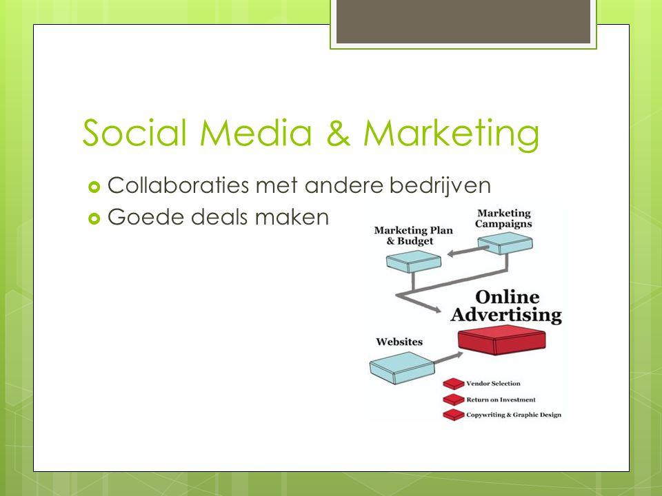 Social Media & Marketing  Collaboraties met andere bedrijven  Goede deals maken