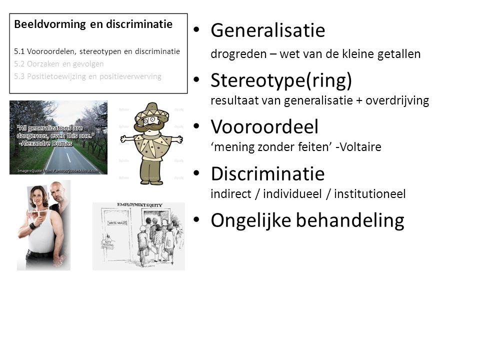 Beeldvorming en discriminatie 5.1 Vooroordelen, stereotypen en discriminatie 5.2 Oorzaken en gevolgen 5.3 Positietoewijzing en positieverwerving Gener