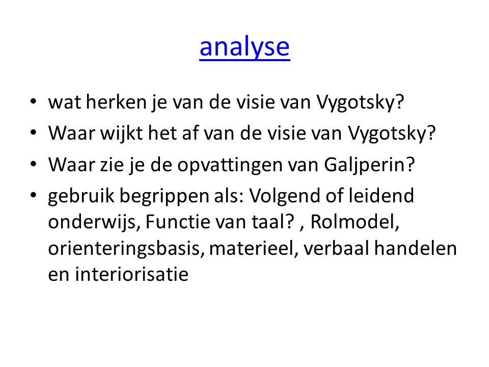 analyse wat herken je van de visie van Vygotsky? Waar wijkt het af van de visie van Vygotsky? Waar zie je de opvattingen van Galjperin? gebruik begrip