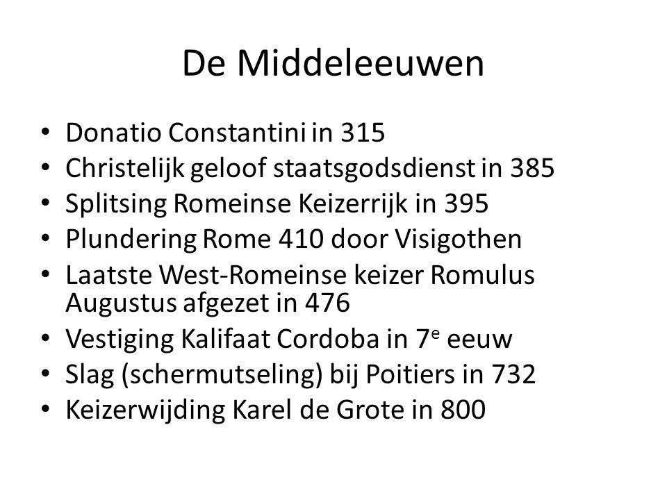 De Middeleeuwen Donatio Constantini in 315 Christelijk geloof staatsgodsdienst in 385 Splitsing Romeinse Keizerrijk in 395 Plundering Rome 410 door Vi