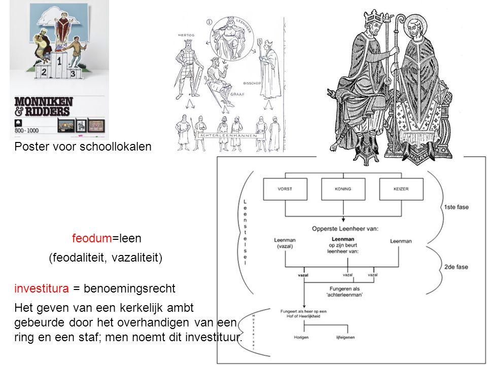 (feodaliteit, vazaliteit) feodum=leen Poster voor schoollokalen investitura = benoemingsrecht Het geven van een kerkelijk ambt gebeurde door het overh