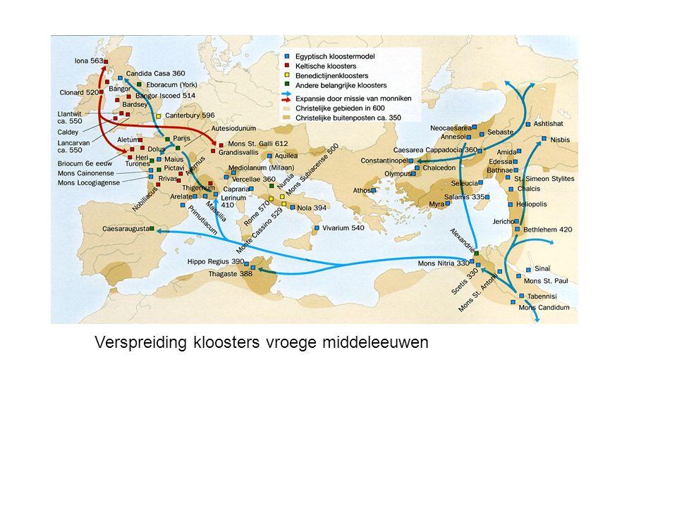 Verspreiding kloosters vroege middeleeuwen