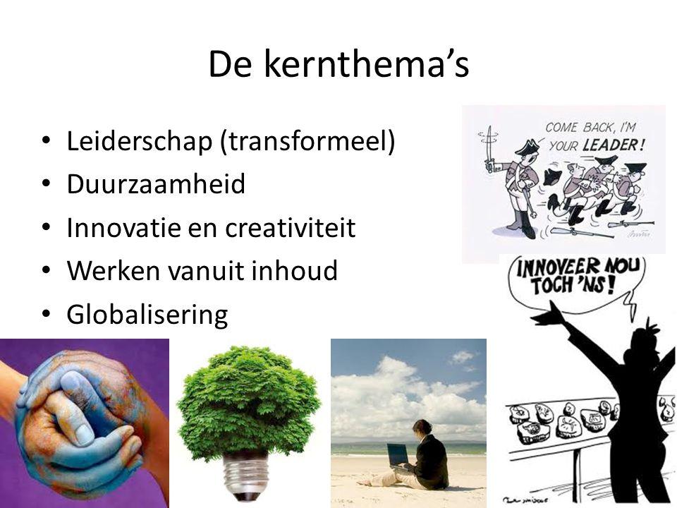 De kernthema's Leiderschap (transformeel) Duurzaamheid Innovatie en creativiteit Werken vanuit inhoud Globalisering