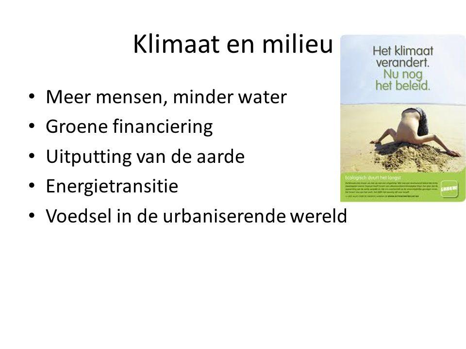 Klimaat en milieu Meer mensen, minder water Groene financiering Uitputting van de aarde Energietransitie Voedsel in de urbaniserende wereld