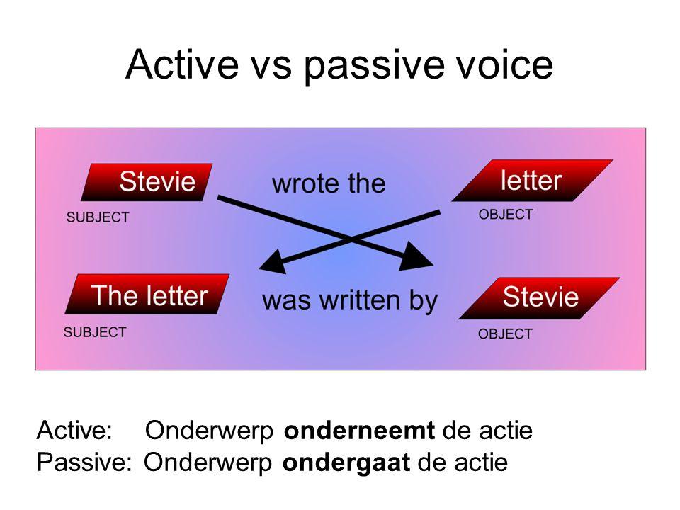 Active vs passive voice Active: Onderwerp onderneemt de actie Passive: Onderwerp ondergaat de actie