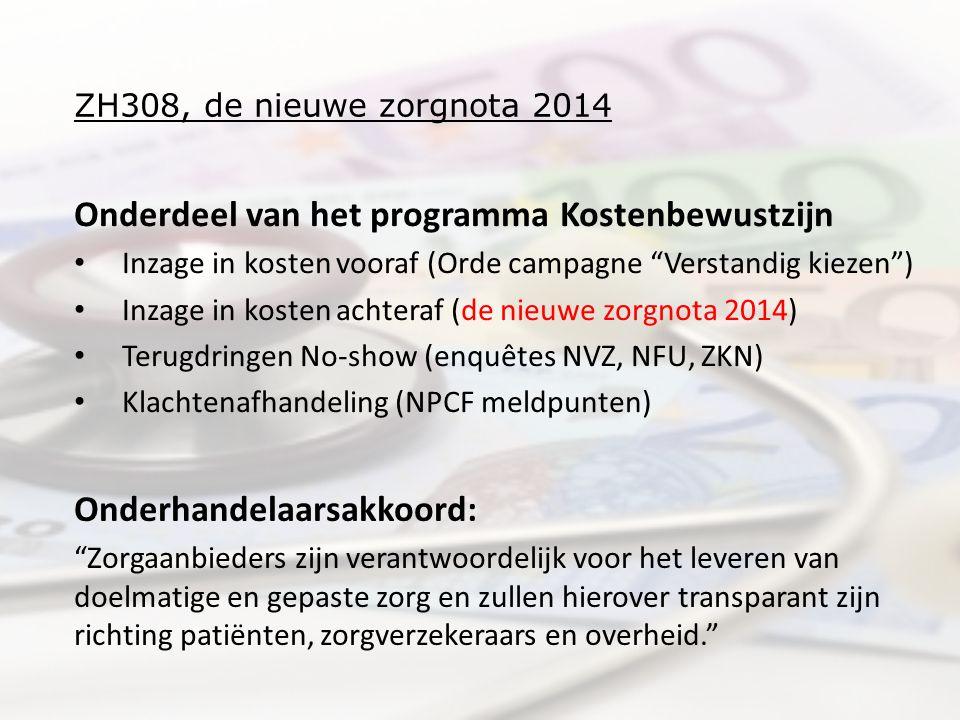 ZH308, de nieuwe zorgnota 2014 Onderdeel van het programma Kostenbewustzijn Inzage in kosten vooraf (Orde campagne Verstandig kiezen ) Inzage in kosten achteraf (de nieuwe zorgnota 2014) Terugdringen No-show (enquêtes NVZ, NFU, ZKN) Klachtenafhandeling (NPCF meldpunten) Onderhandelaarsakkoord: Zorgaanbieders zijn verantwoordelijk voor het leveren van doelmatige en gepaste zorg en zullen hierover transparant zijn richting patiënten, zorgverzekeraars en overheid.