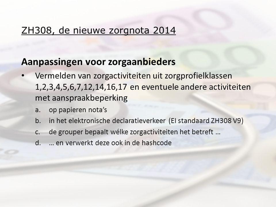 ZH308, de nieuwe zorgnota 2014 Aanpassingen voor zorgaanbieders Vermelden van zorgactiviteiten uit zorgprofielklassen 1,2,3,4,5,6,7,12,14,16,17 en eventuele andere activiteiten met aanspraakbeperking a.op papieren nota's b.in het elektronische declaratieverkeer (EI standaard ZH308 V9) c.de grouper bepaalt wélke zorgactiviteiten het betreft … d.… en verwerkt deze ook in de hashcode