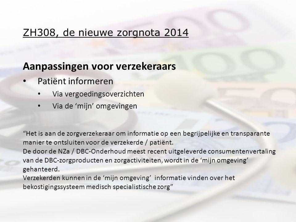 ZH308, de nieuwe zorgnota 2014 Aanpassingen voor verzekeraars Patiënt informeren Via vergoedingsoverzichten Via de 'mijn' omgevingen Het is aan de zorgverzekeraar om informatie op een begrijpelijke en transparante manier te ontsluiten voor de verzekerde / patiënt.