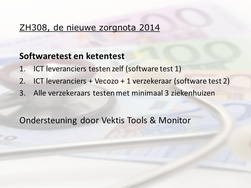 ZH308, de nieuwe zorgnota 2014 Softwaretest en ketentest 1.ICT leveranciers testen zelf (software test 1) 2.ICT leveranciers + Vecozo + 1 verzekeraar (software test 2) 3.Alle verzekeraars testen met minimaal 3 ziekenhuizen Ondersteuning door Vektis Tools & Monitor