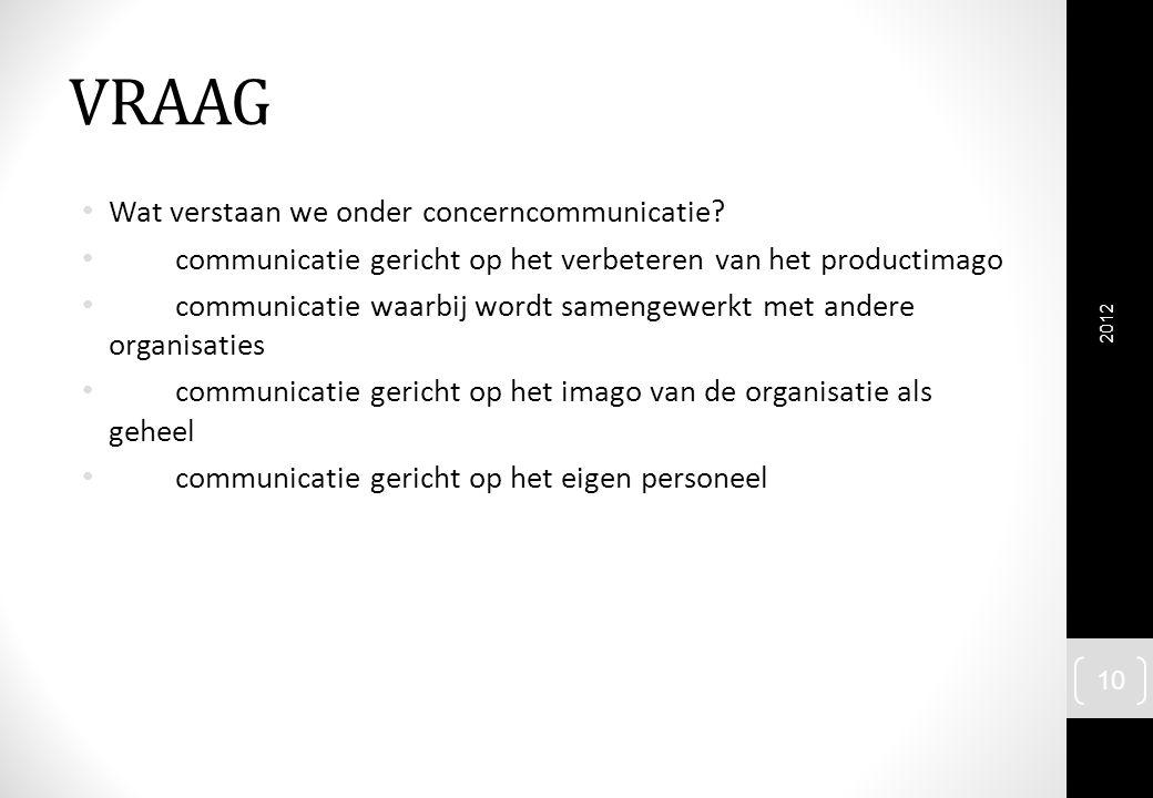 VRAAG Wat verstaan we onder concerncommunicatie? communicatie gericht op het verbeteren van het productimago communicatie waarbij wordt samengewerkt m