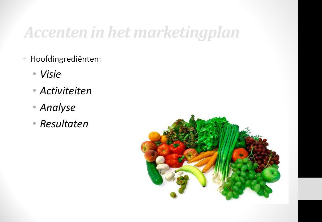 Accenten in het marketingplan Hoofdingrediënten: Visie Activiteiten Analyse Resultaten