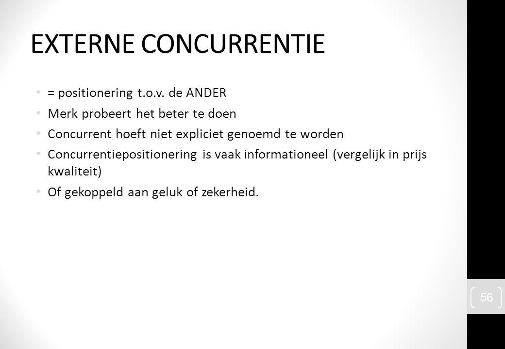 = positionering t.o.v. de ANDER Merk probeert het beter te doen Concurrent hoeft niet expliciet genoemd te worden Concurrentiepositionering is vaak in