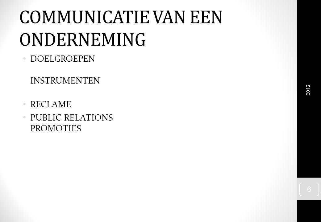 COMMUNICATIE VAN EEN ONDERNEMING DOELGROEPEN INSTRUMENTEN RECLAME PUBLIC RELATIONS PROMOTIES 2012 6
