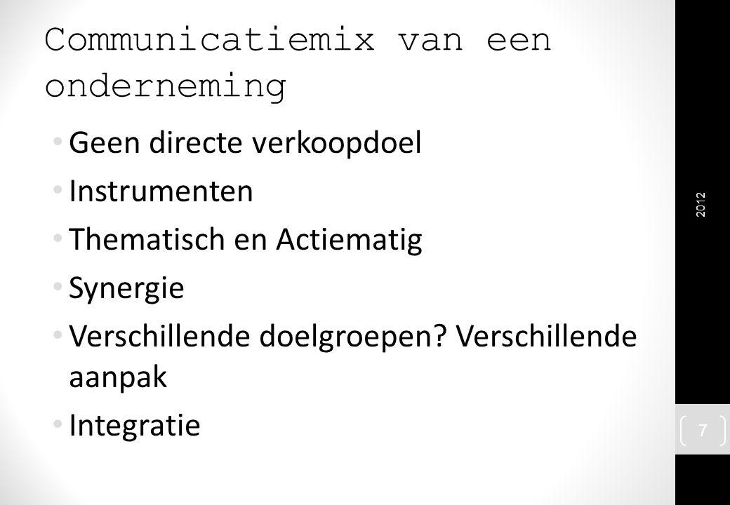 Communicatiemix van een onderneming Geen directe verkoopdoel Instrumenten Thematisch en Actiematig Synergie Verschillende doelgroepen? Verschillende a