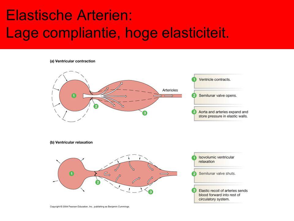 Druk/oppervlakte/volume Druk in het arteriele deel het hoogst (compliantie laag) Oppervlakte het grootst in het capillaire deel Merendeel van het bloed bevindt zich in het veneuze deel (compliantie hoog)