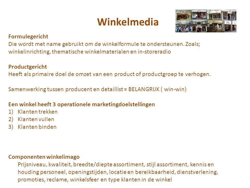 Winkelmedia Formulegericht Die wordt met name gebruikt om de winkelformule te ondersteunen.