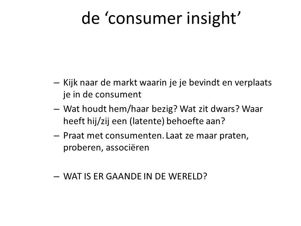 de 'consumer insight' – Kijk naar de markt waarin je je bevindt en verplaats je in de consument – Wat houdt hem/haar bezig.