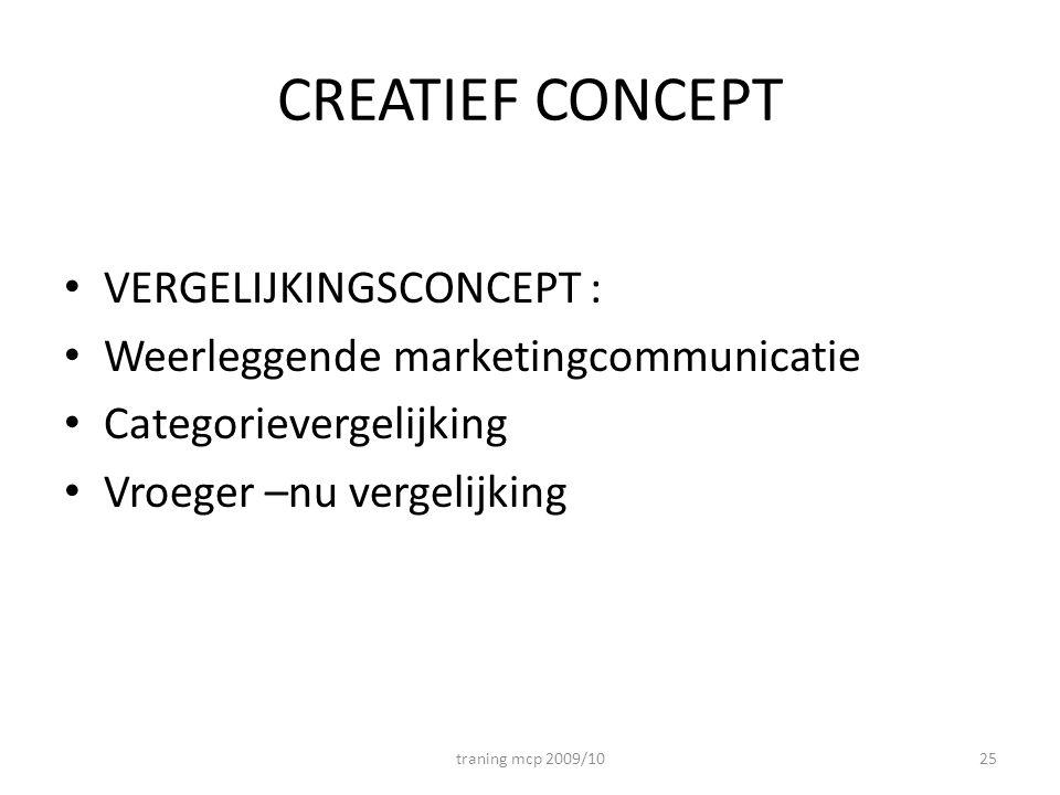 CREATIEF CONCEPT VERGELIJKINGSCONCEPT : Weerleggende marketingcommunicatie Categorievergelijking Vroeger –nu vergelijking traning mcp 2009/1025