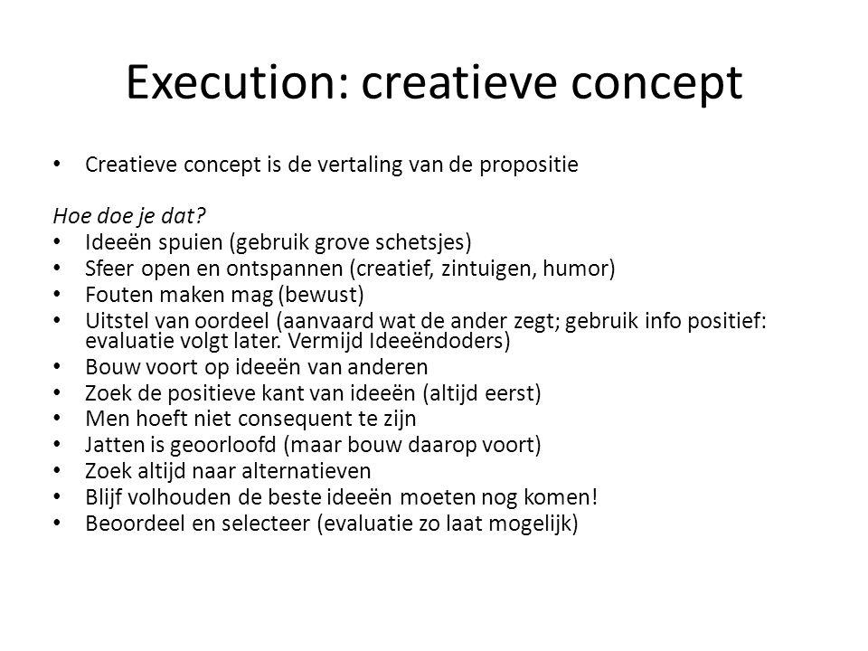 Execution: creatieve concept Creatieve concept is de vertaling van de propositie Hoe doe je dat.