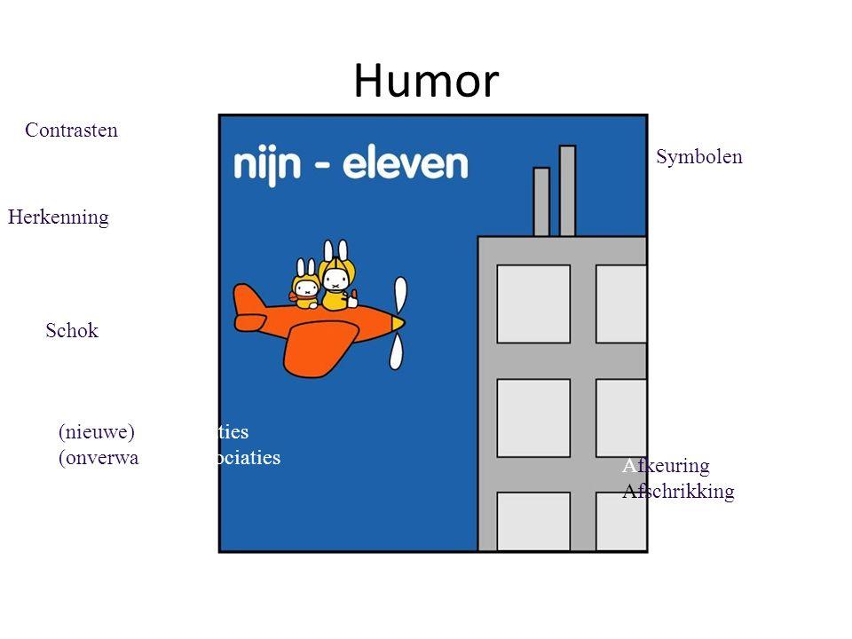 Humor Schok Afkeuring Afschrikking Herkenning (nieuwe) Combinaties (onverwachte)Associaties Symbolen Contrasten