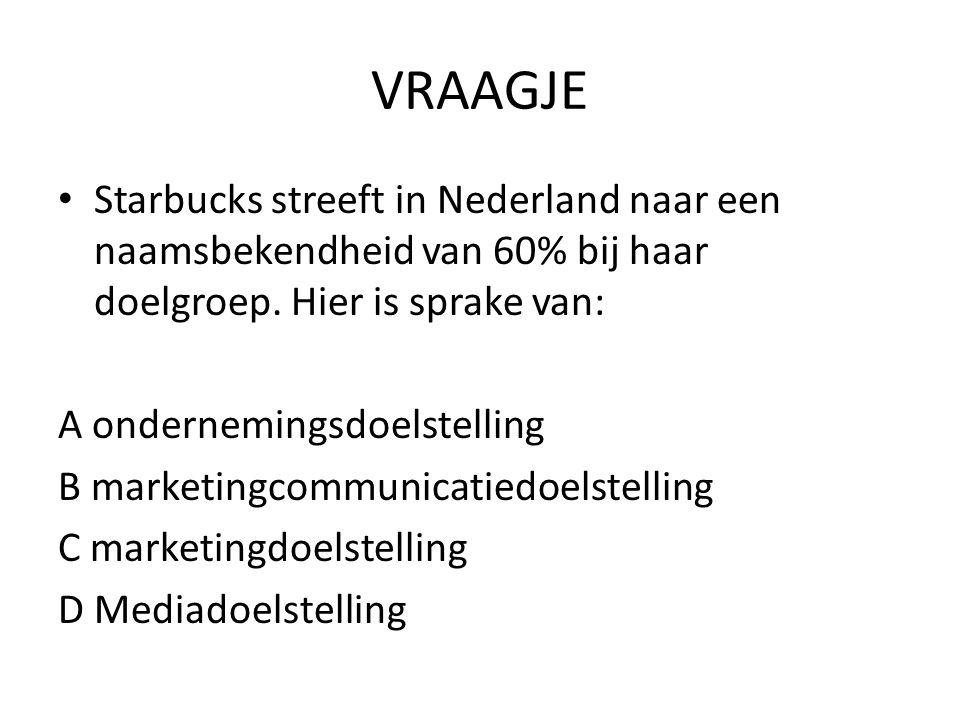 VRAAGJE Starbucks streeft in Nederland naar een naamsbekendheid van 60% bij haar doelgroep.