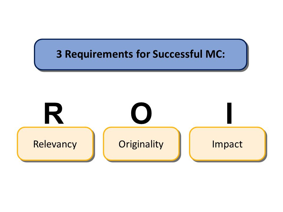 3 Requirements for Successful MC: Relevancy R Originality O Impact I