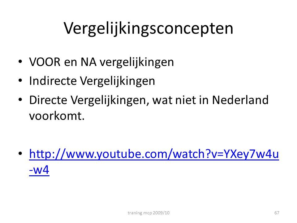 Vergelijkingsconcepten VOOR en NA vergelijkingen Indirecte Vergelijkingen Directe Vergelijkingen, wat niet in Nederland voorkomt.